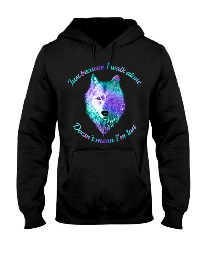 Just Because I Walk Alone Wolf Mandala