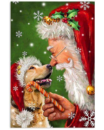 Golden Retriever Smile With Santa Christmas