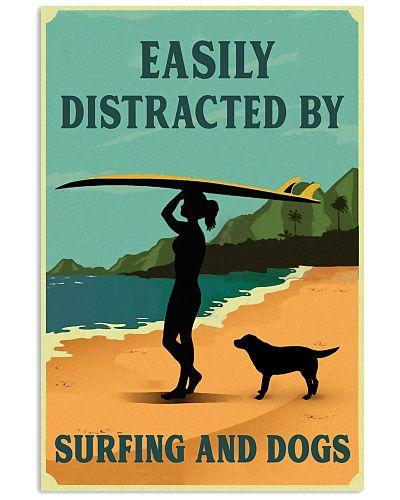 Vintage Distracted Surfing Girl Labrador Retriever