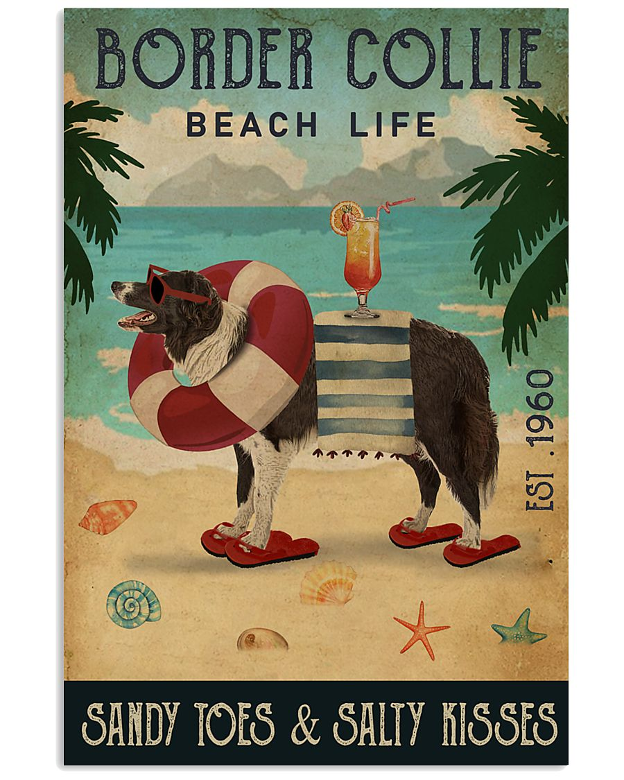 Vintage Beach Cocktail Life Border Collie 16x24 Poster