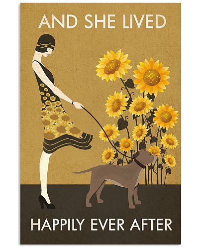Sunflower Vintage Girl Lived Happily Pit bull