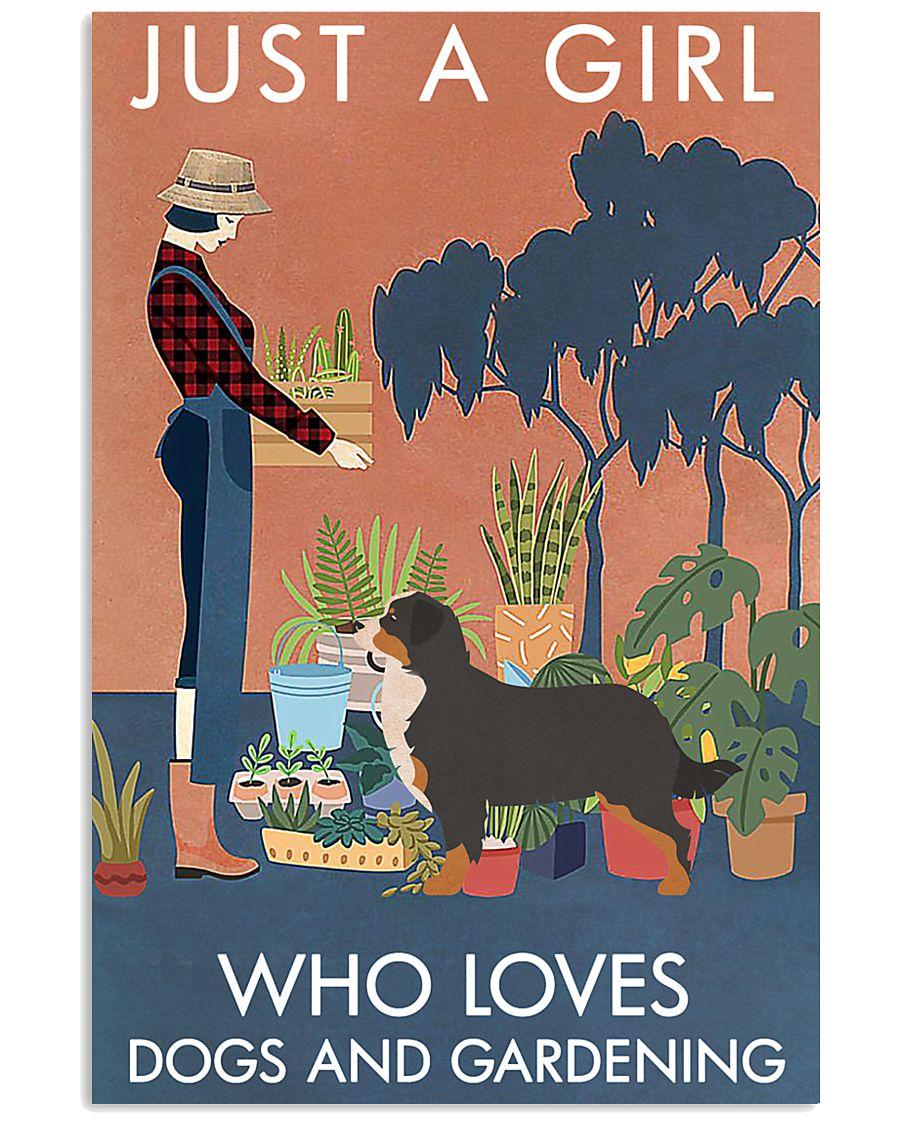 Vintage Girl Loves Gardening Bernese Mountain Dog 11x17 Poster