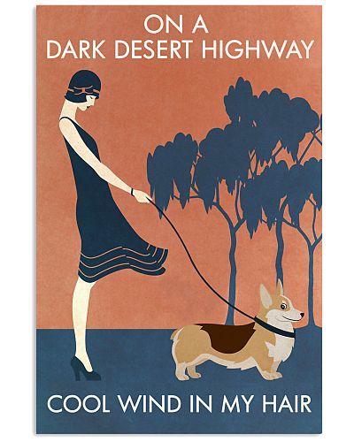 Vintage Girl On A Dark Desert Highway Corgis