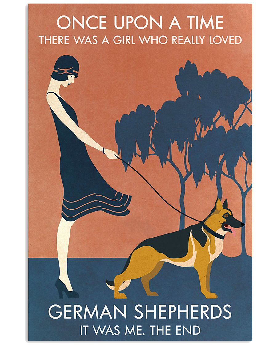 Vintage Girl Once Upon A Time German Shepherd 11x17 Poster