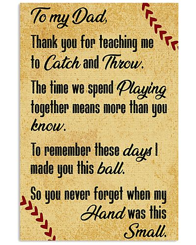 Baseball To My Dad Thank You For Teaching Me