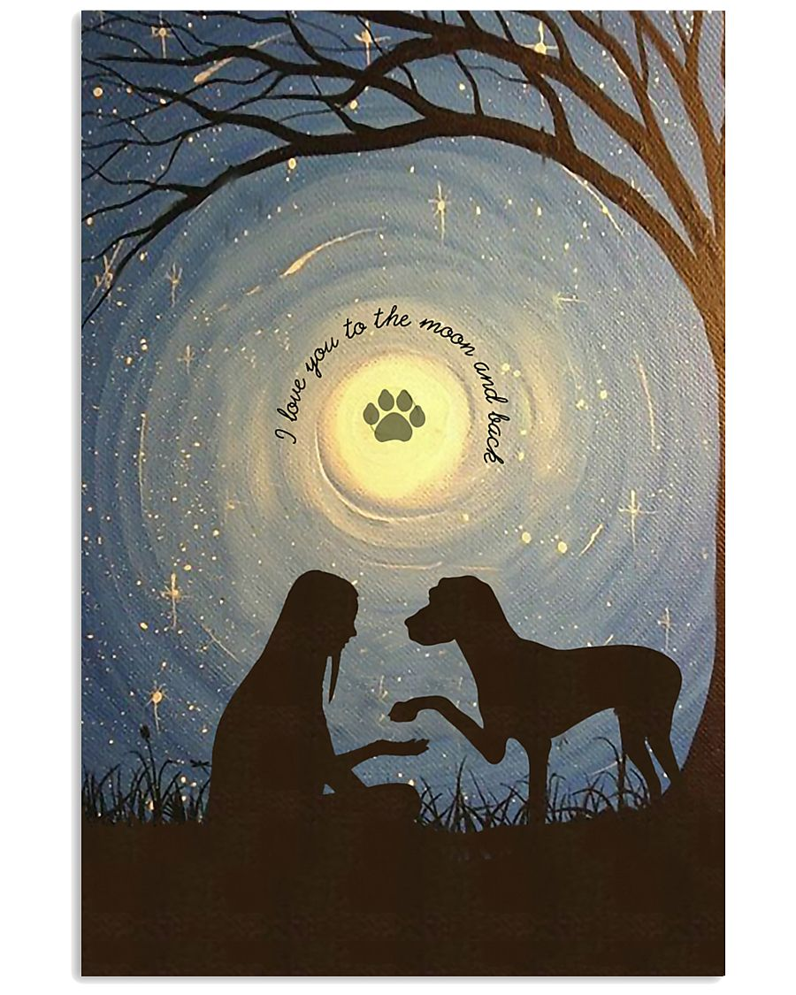 Love You To The Moon Hand Shake Great Dane 11x17 Poster