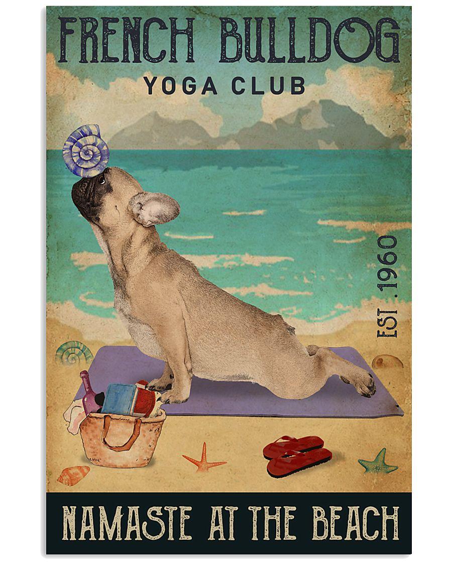 Beach Yoga Club French Bulldog 11x17 Poster