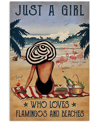 Vintage Beach Who Loves Flamingo Girl