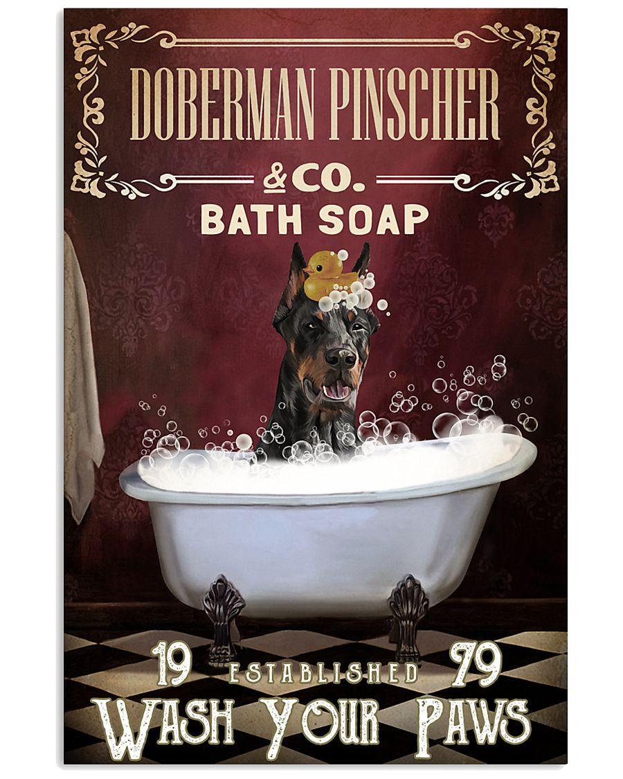 Red Bath Soap Doberman Pinscher 11x17 Poster