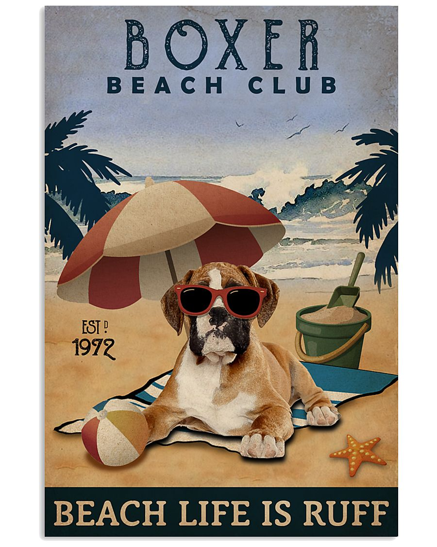 Vintage Beach Club Is Ruff Boxer 11x17 Poster
