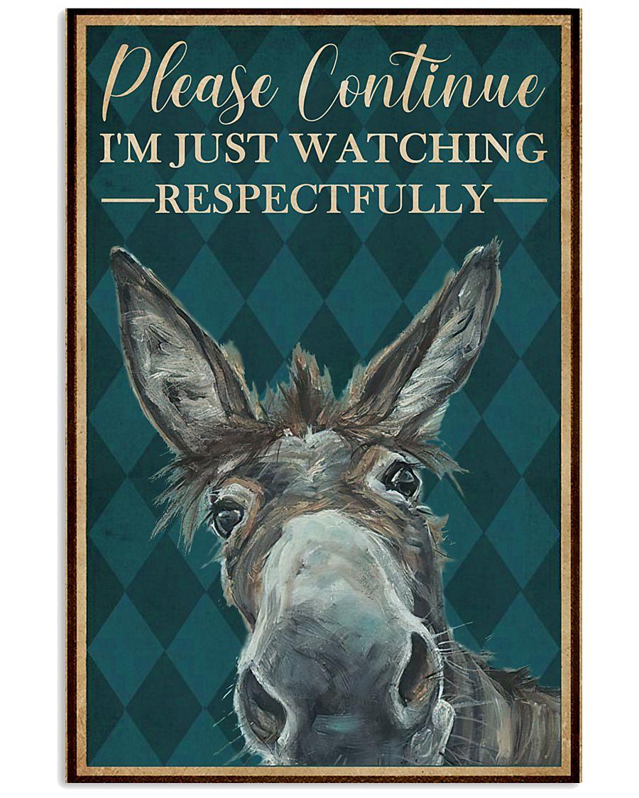 Watching Respectfully Donkey 16x24 Poster
