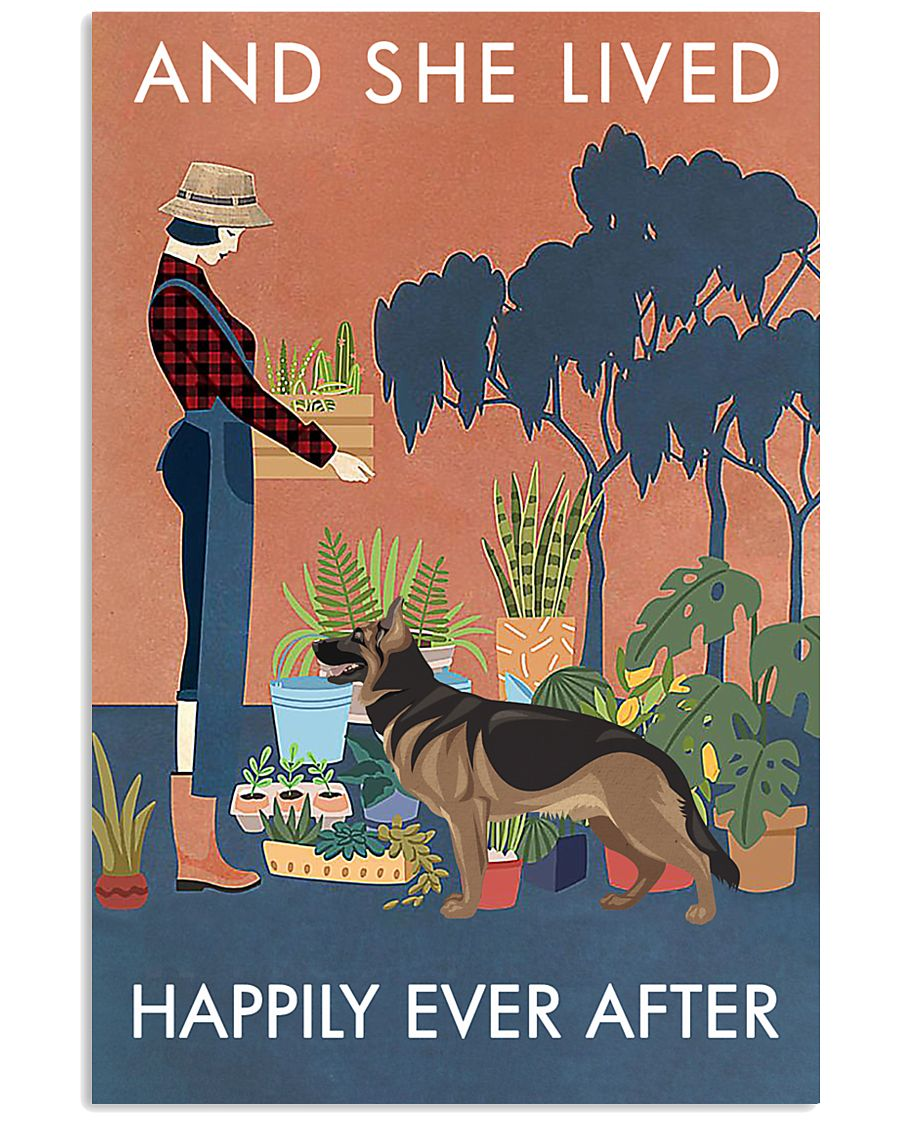 Vintage Lived Happily Gardening German Shepherd 11x17 Poster