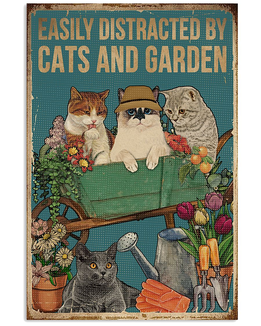 Retro Easily Distracted By Cats And Garden 16x24 Poster