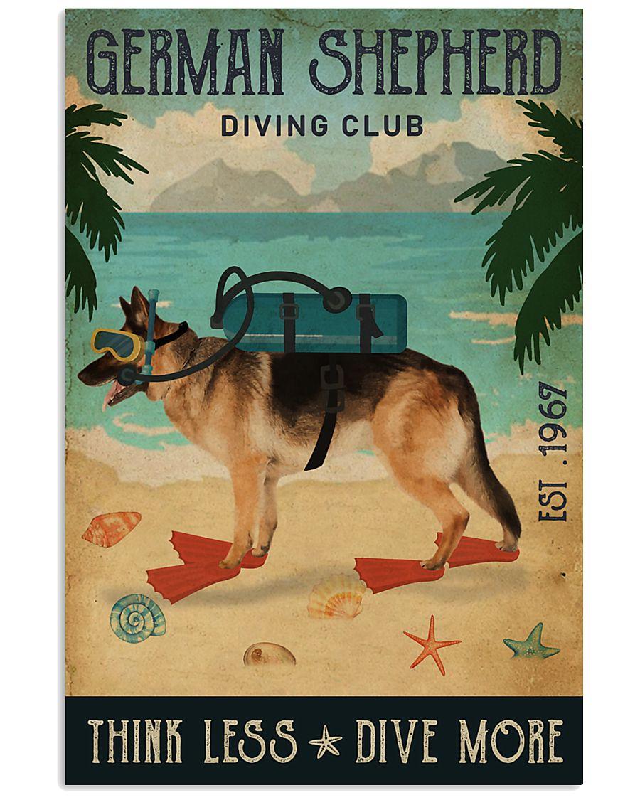 Vintage Diving Club German Shepherd 11x17 Poster