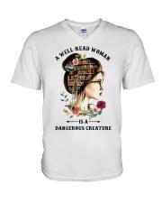 Dangerous Creature Reading V-Neck T-Shirt thumbnail