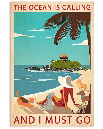 Retro Art The Ocean Is Calling Girl And Dogs