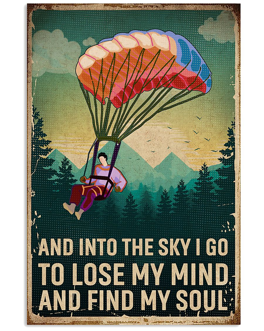 Retro Sky Find My Soul Paragliding 11x17 Poster