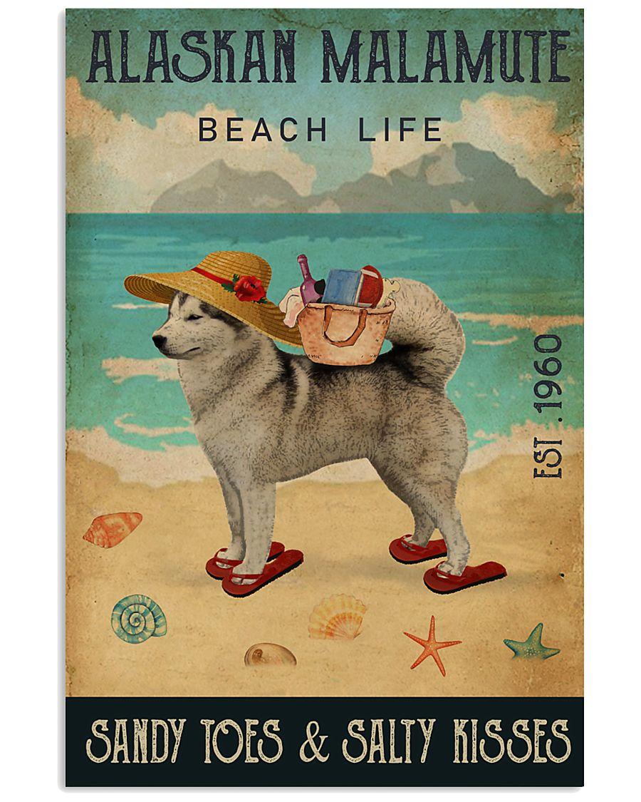 Beach Life Sandy Toes Alaskan Malamute 11x17 Poster