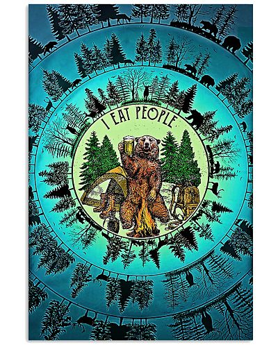 Bear Camping Blue Nature Circle