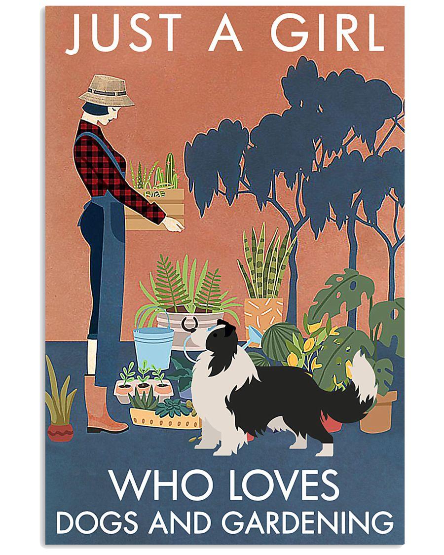 Vintage Just A Girl Loves Gardening Border Collie 11x17 Poster