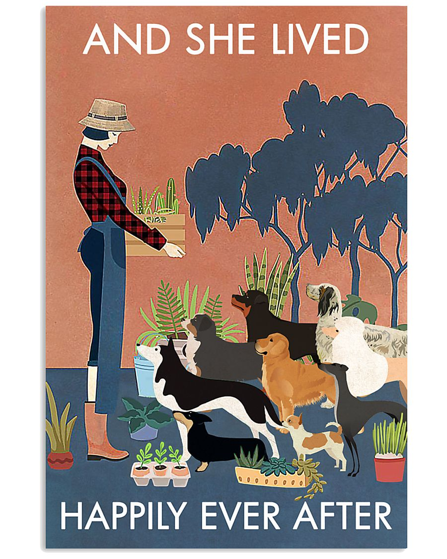 Vintage And She Lived Happily Dogs Gardening 11x17 Poster