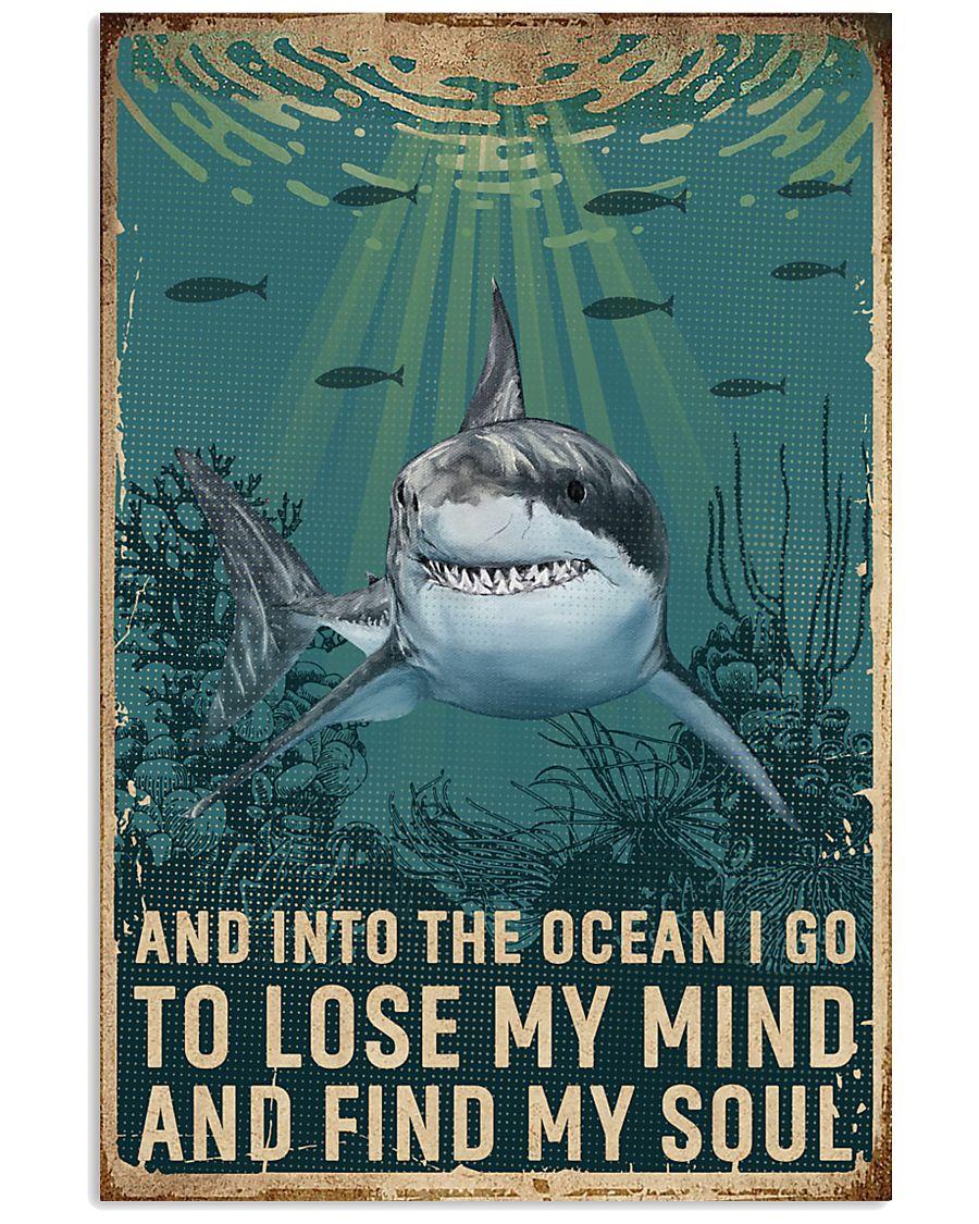 Retro Ocean Find My Soul Shark 11x17 Poster