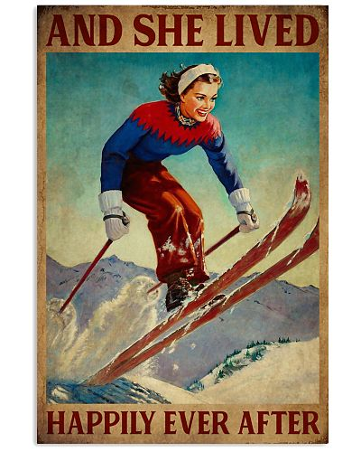 Retro Lived Happily Skiing Girl
