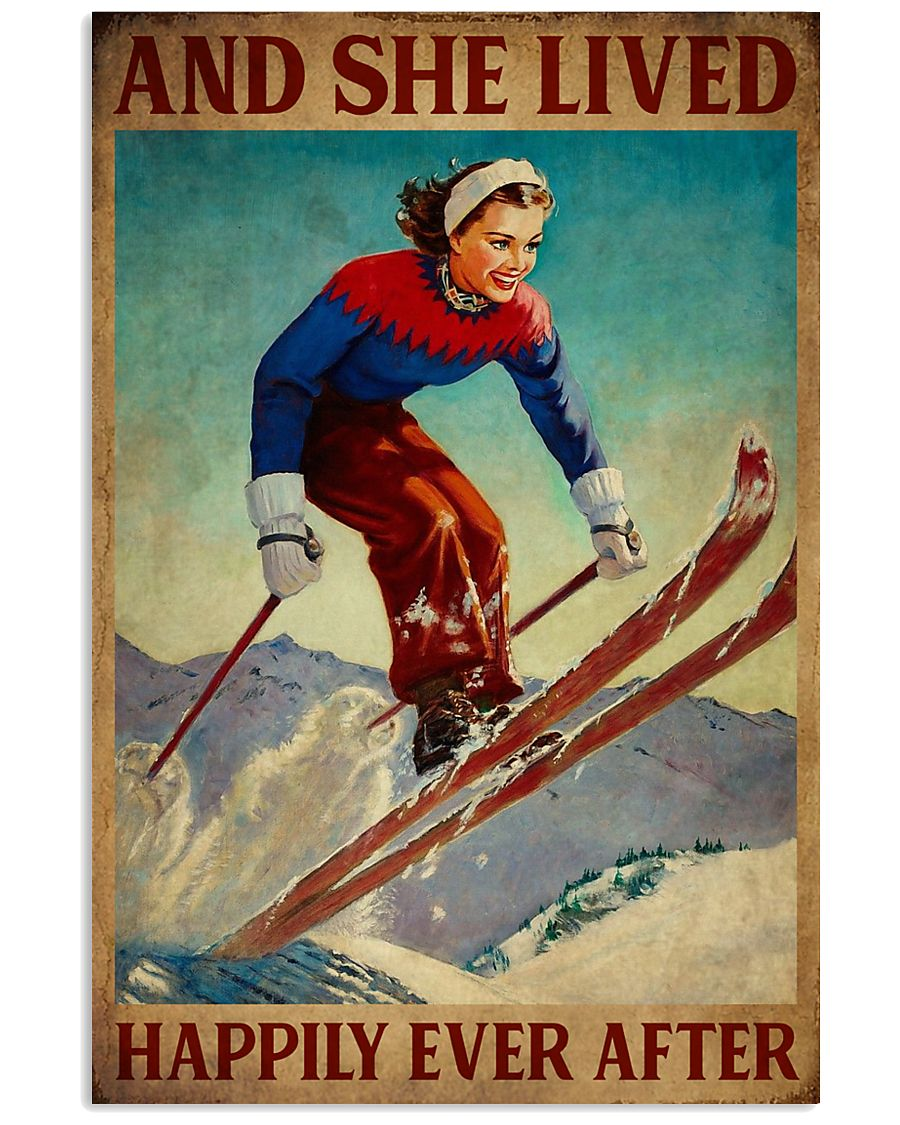 Retro Lived Happily Skiing Girl 11x17 Poster