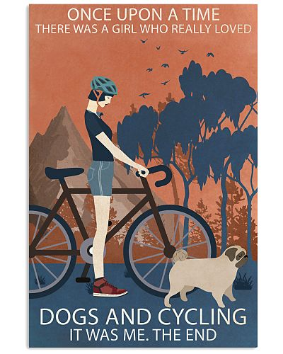 Vintage Girl Once Upon A Time Pug And Cycling