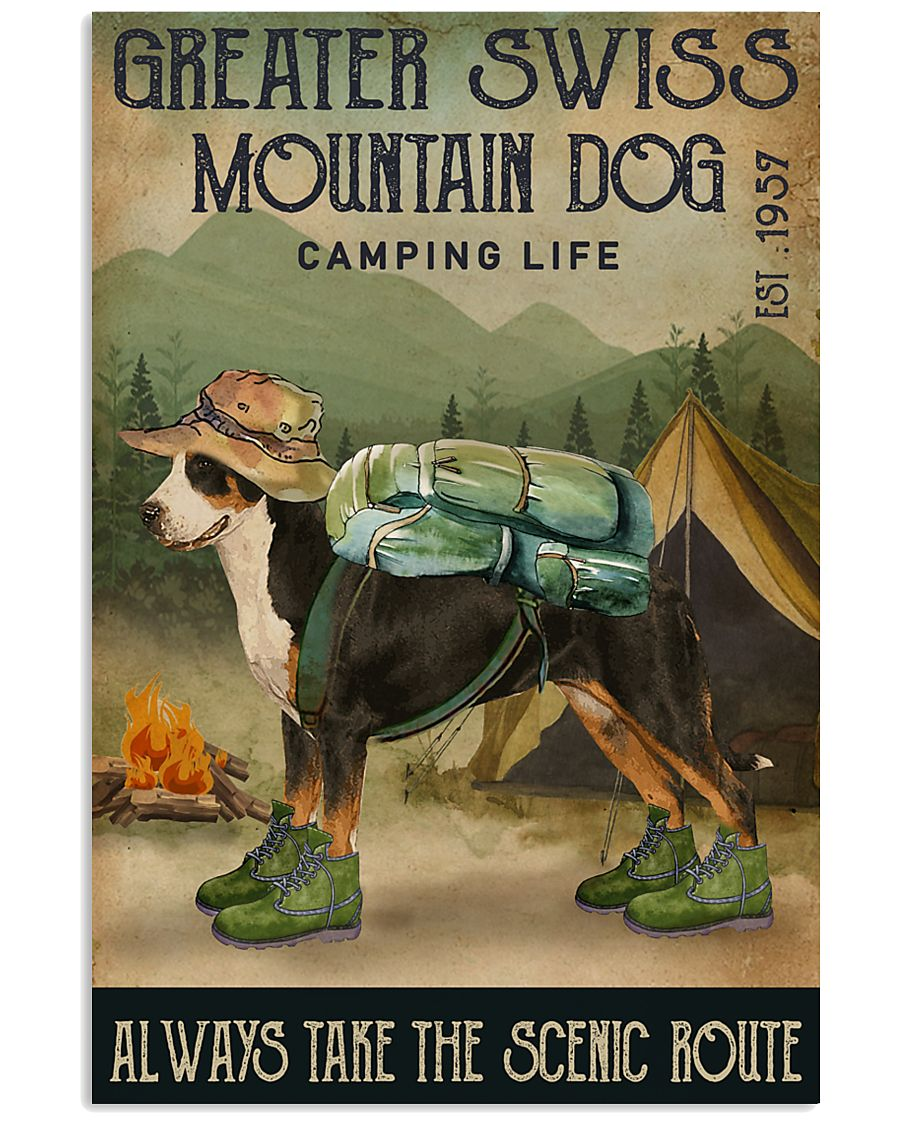 Camping Life Route Greater Swiss Mountain Dog 11x17 Poster