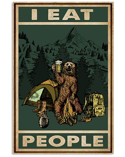 Retro Green Camping Bear I Eat People