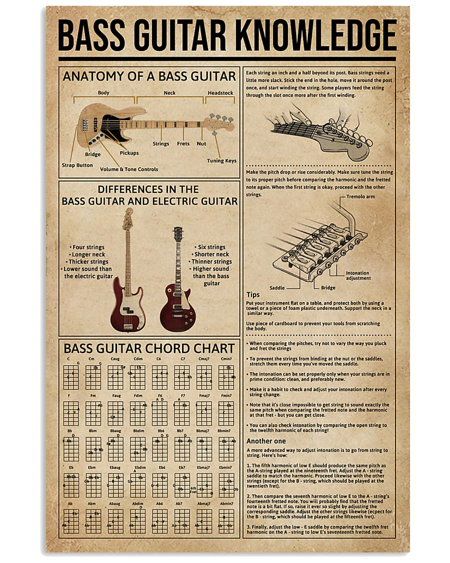 Bass Guitar Knowledge Instrument 11x17 Poster