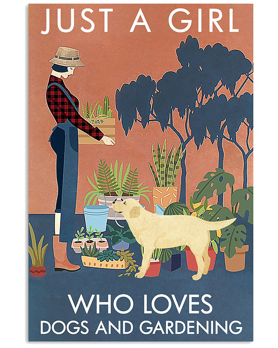 Vintage Girl Loves Gardening Labrador Retriever 11x17 Poster