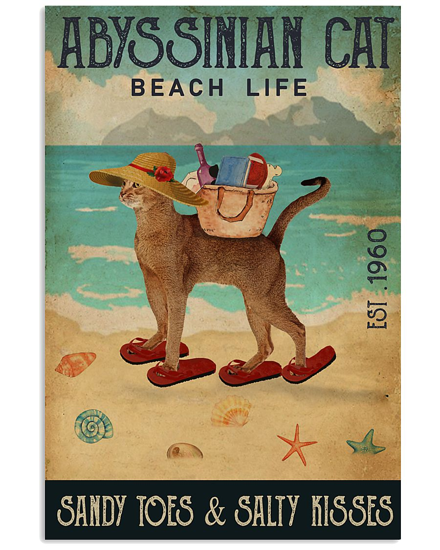 Beach Life Sandy Toes Abyssinian Cat 11x17 Poster