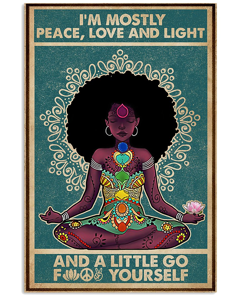 Retro Navy Mostly Peace Black Girl Yoga 11x17 Poster