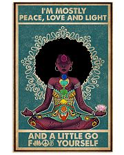 Retro Navy Mostly Peace Black Girl Yoga 11x17 Poster front