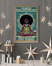 Retro Navy Mostly Peace Black Girl Yoga 11x17 Poster lifestyle-holiday-poster-1