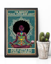 Retro Navy Mostly Peace Black Girl Yoga 11x17 Poster lifestyle-poster-8