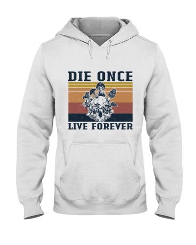 Retro Navy Die Once Live Forever Mushroom Skull