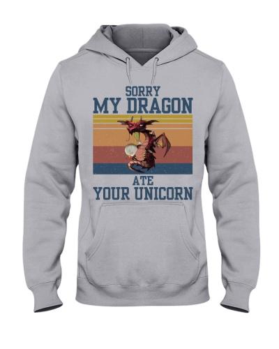 Dragon Sorry My Dragon Ate Your Unicorn Retro Navy