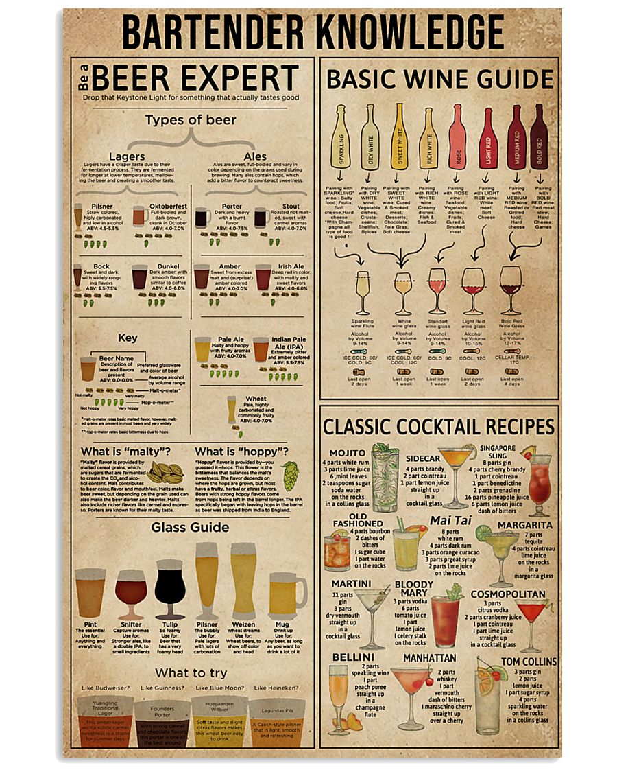 Bartender Knowledge 16x24 Poster