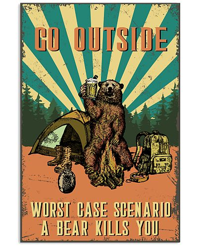 Retro Camping Bear Go Outside