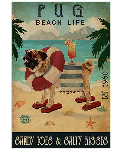 Vintage Beach Cocktail Life Pug