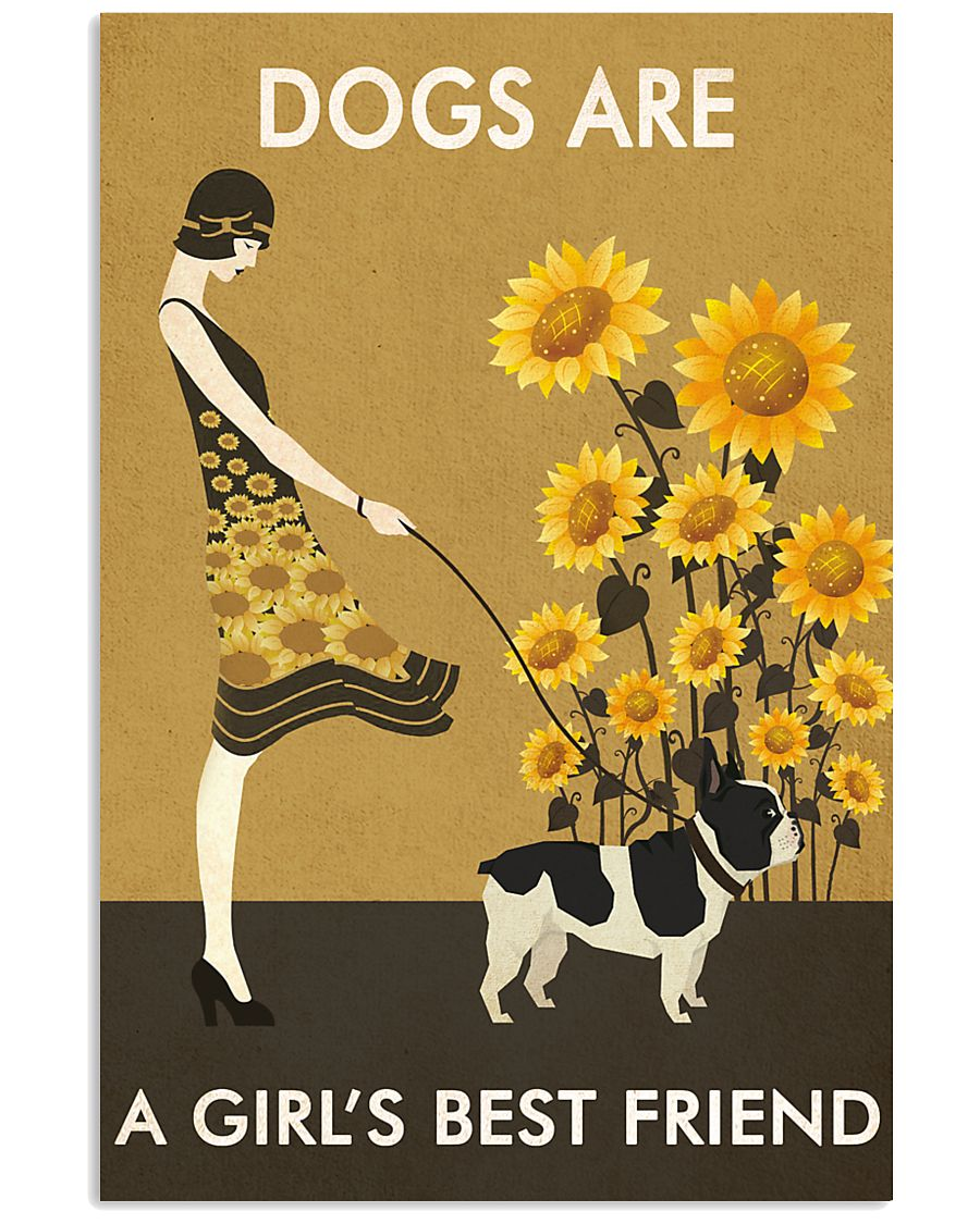Sunflower Vintage Girl Love Is French Bulldog 11x17 Poster