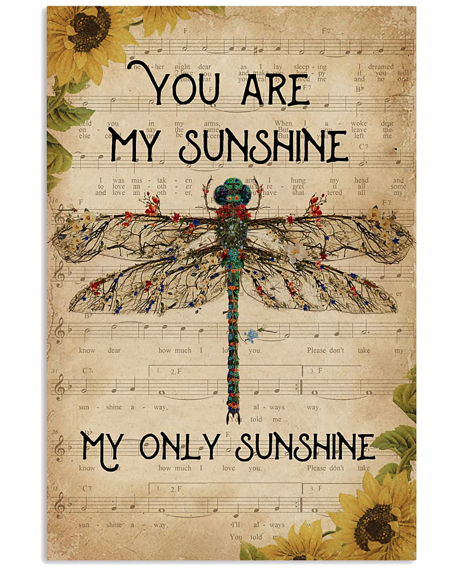 Music Sheet You Are My Sunshine Dragonfly 11x17 Poster