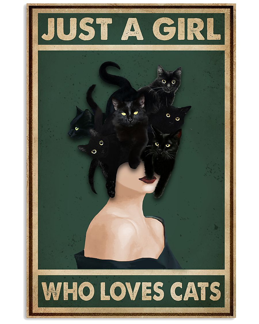 Retro Green Who Loves Black Cat 11x17 Poster