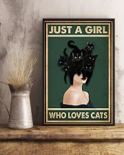 Retro Green Who Loves Black Cat 11x17 Poster lifestyle-poster-3