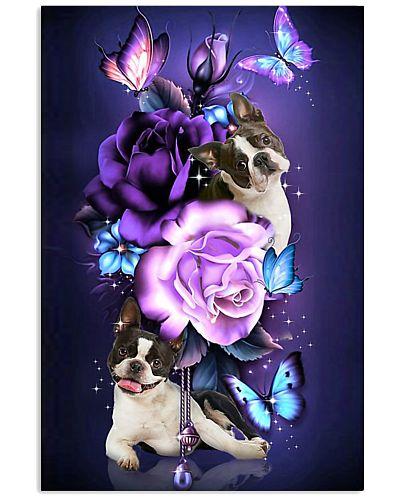 Magic Purple Rose Boston Terrier
