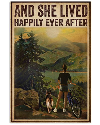 Vintage Lived Happily Cycling Dogs Girl