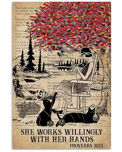 Catchphrase Works Hand Black Cat  Knitting Girl